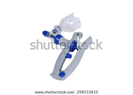 Special tools for veterinarians. A gun for injection Cattle on a white background - stock photo