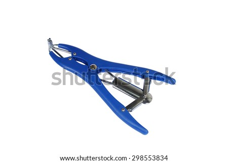 Special tools for veterinarians. Pliers on a white background - stock photo