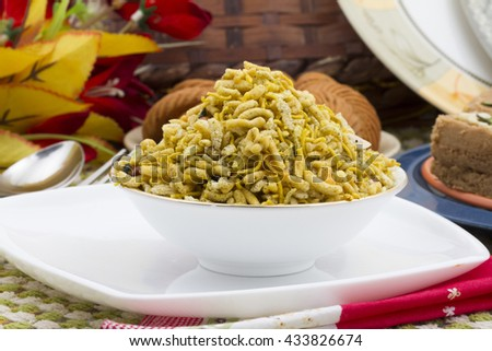 special traditional salty food mixture namkeen - stock photo
