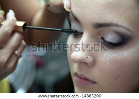 specialist on make-up dyes the models of eyelash