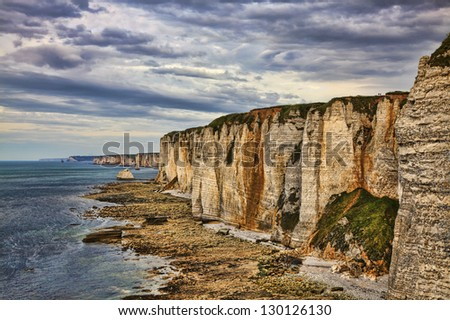Specific cliffs in Etretat in the Upper-Normandy region in Northern France, during the low tide time.