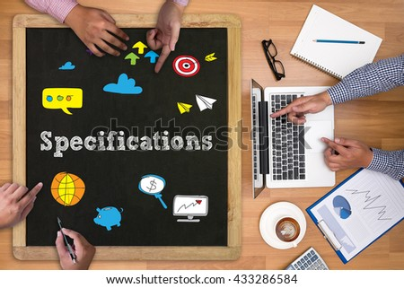 Specifications Businessman working at office desk and using computer and objects on the right, coffee,  top view, - stock photo