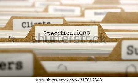 Specifications Concept. Word on Folder Register of Card Index. Selective Focus. - stock photo