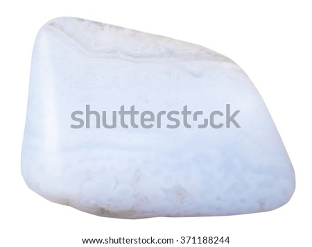 specimen of blue lace agate natural mineral gem stone isolated on white background - stock photo