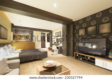 Specious apartment interior with jacuzzi bath - stock photo