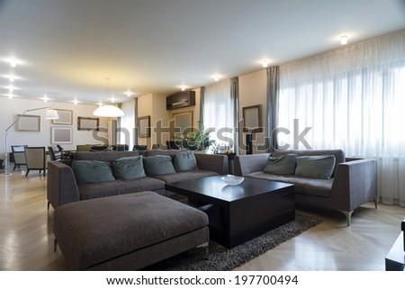 Specious bright living room - stock photo