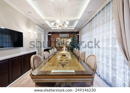 Specious classic dining room interior - stock photo