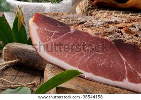 Speck, typical salami Alto Adige, Italy, closeup - stock photo