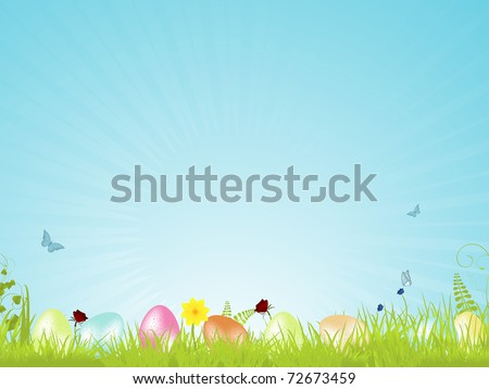 Speckled easter eggs on a spring background with tranquil blue light rays, ferns, flower and butterflies