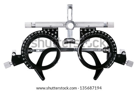 Spectacles used for eyesight tests isolated on white background. Clipping path included. - stock photo