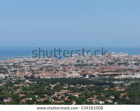 Spectacular aerial panorama of Livorno city made from the nearby hills of Montenero on sunny day, Tuscany Italy