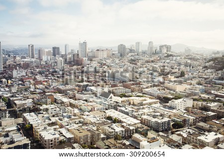 Spectacular aerial panorama of San Francisco city made from the top floor of Coit tower on sunny day, California  - stock photo