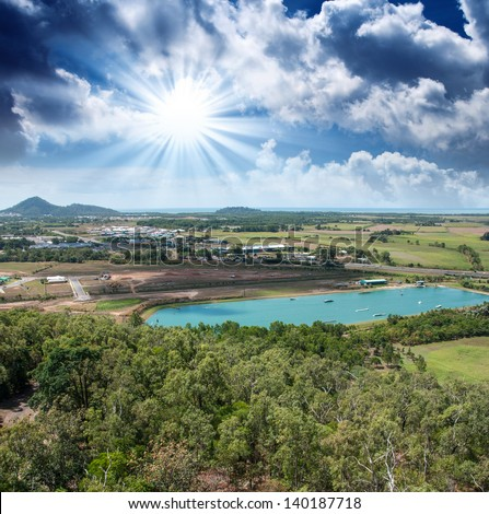 Spectacular aerial view of Queensland Countryside in winter. - stock photo