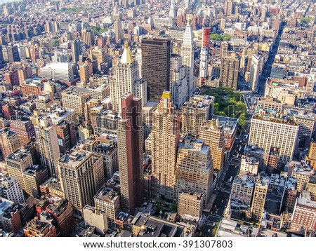Spectacular aerial view of skyscrapers in Manhattan, New York City, United States.