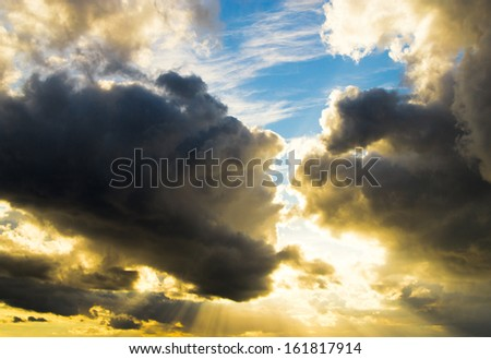 Spectacular Cloudscape Light and Dark  - stock photo