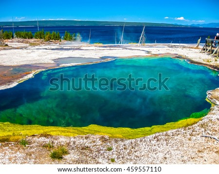Spectacular colorful Abyss Pool and dead trees in the West Thumb Geyser Basin of Yellowstone National Park, Wyoming, United States.