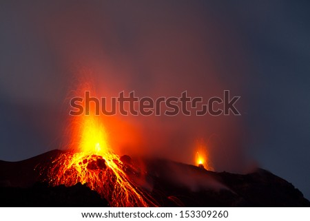spectacular eruption of volcano