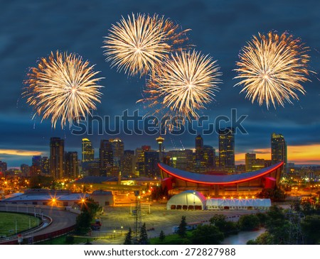 Spectacular Fireworks over Downtown Calgary, Canada - stock photo