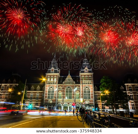 Spectacular Fireworks over the Rijksmuseum at Museumplein in Amsterdam, Netherlands - stock photo