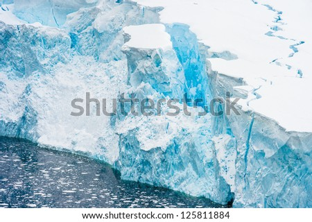 Spectacular ice formations of Neko Harbour, an inlet on the Antarctic Peninsula on Andvord Bay - stock photo