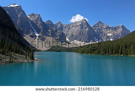 Spectacular Lake Moraine, located in Banff National Park, Alberta, Canada.  - stock photo