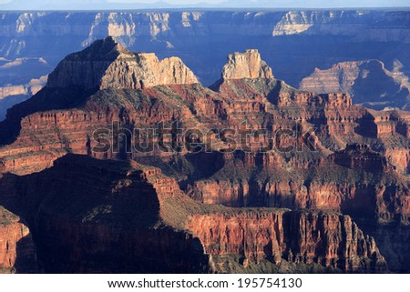 Spectacular light and shadow play of sunset rays at Grand canyon, north rim, USA - stock photo