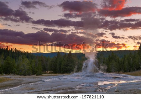 Spectacular Lone Star Geyser during Eruption - Yellowstone - stock photo