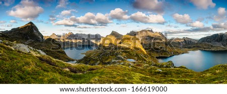 Spectacular mountain panoramic view in the middle of wilder part of Lofoten islands, Norway - stock photo