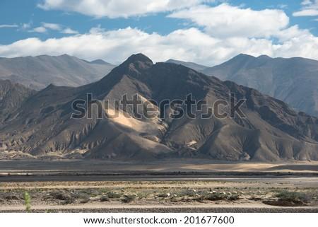 Spectacular mountain scenery on the Mount Everest Base Camp trek through the Himalaya, Nepal - stock photo