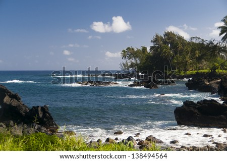 Spectacular ocean view on the Road to Hana, Maui, Hawaii, USA - stock photo