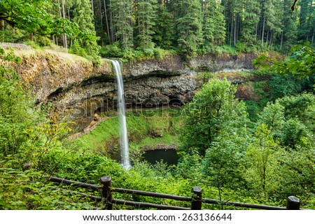 Spectacular, one hundred seventy seven foot high, North Falls in Silver Falls State Park, Oregon - stock photo