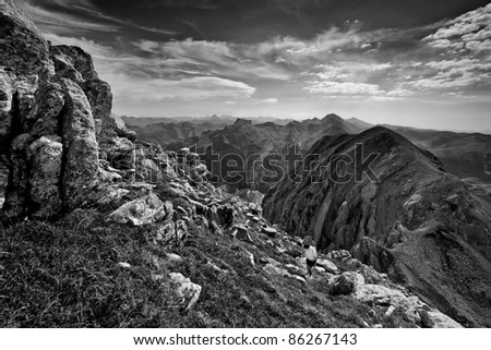 Spectacular place into the pyrenees - stock photo