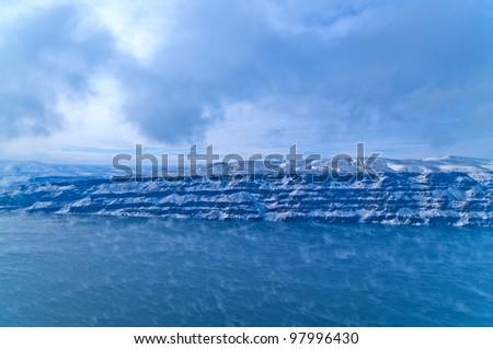 Spectacular shot of Columbia River in Vantage Washington - Winter - stock photo