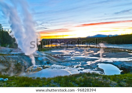 Spectacular Shot of Norris Geyser Basin after sunset - stock photo