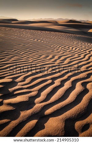 Spectacular shot of Pismo beach Nipomo Sand Dunes at sunset - stock photo