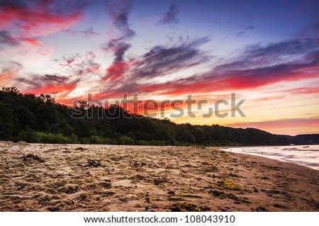 Spectacular sundown on the beach in Sopot, Poland - stock photo