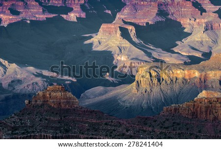 spectacular sunset at Grand canyon in Arizona - stock photo