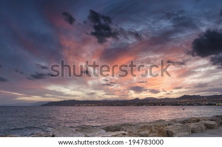 Spectacular sunset at the gulf of Eilat, Red Sea - stock photo