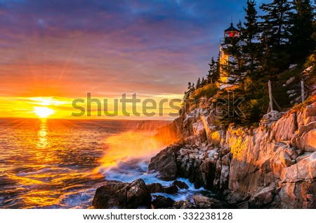 Spectacular Sunset over Bass Harbor Head Light - stock photo