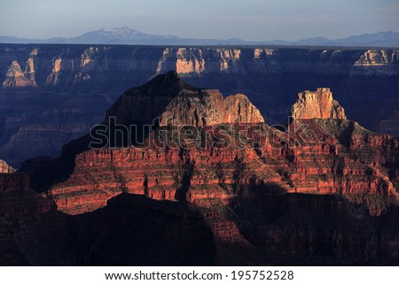 Spectacular sunset rays falling on Grand canyon, North rim, USA - stock photo