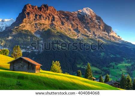 Spectacular Swiss alpine landscape with green fields and famous Eiger peak,Bernese Oberland,Switzerland,Europe - stock photo
