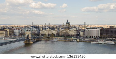 Spectacular view of Budapest, Hungary and Szechenyi Chain Bridge - stock photo