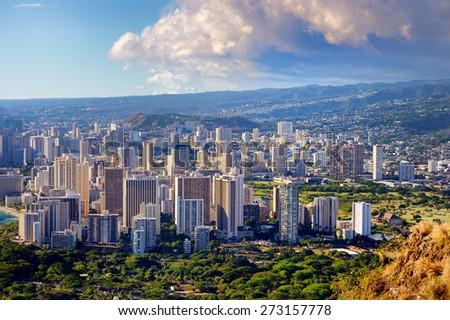 Spectacular view of Honolulu city, Oahu, Hawaii - stock photo
