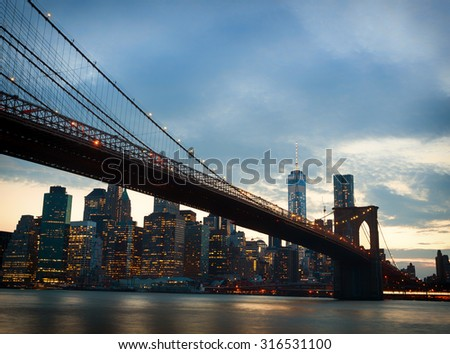 Spectacular view of Manhattan at sunset from Brooklyn, New York City - stock photo