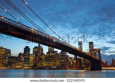 Spectacular view of Manhattan by night from Brooklyn, New York City