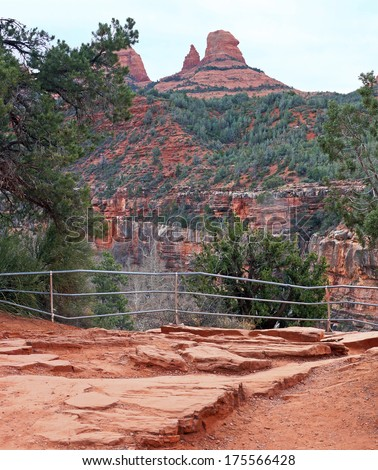 Spectacular view of Oak Creek Canyon from the hiking trails, showing the red rocks of Sedona - stock photo