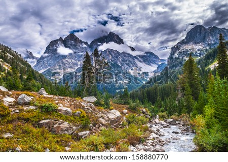 Spectacular View of the Grand Teton Peaks from the Cascade Canyon trail