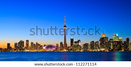 Spectacular view of Toronto cityscape during sunset - stock photo