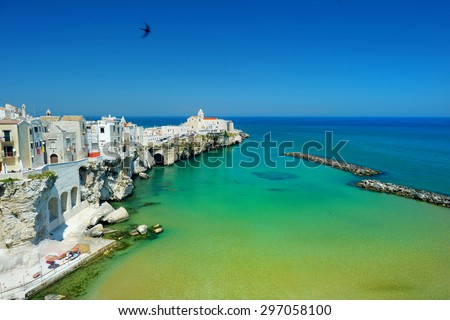 Spectacular view of Vieste town in Italy - stock photo