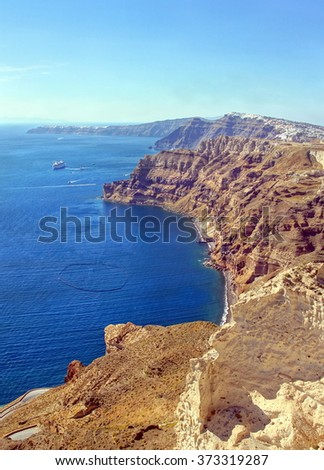 Spectacular view over the cyclade Island of Santorini and his volcanic caldera , Greece